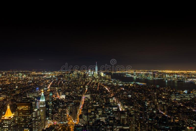 Cenas da noite das skylines em manhattan NYC fotos de stock