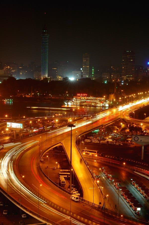 Cenas da noite do Cairo foto de stock