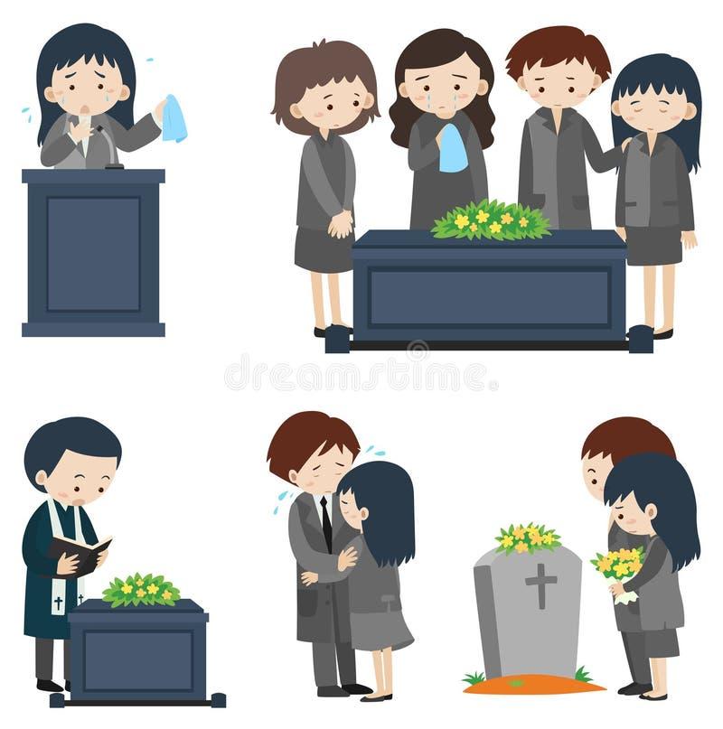 Cenas diferentes no funeral ilustração do vetor