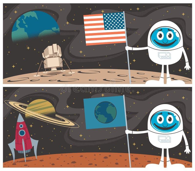 Cenas do espaço ilustração stock
