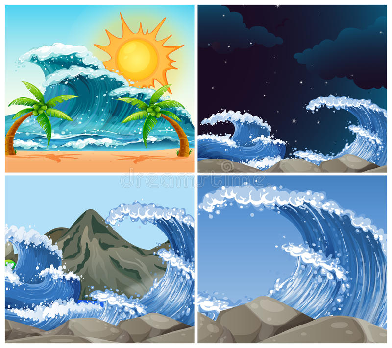 Cenas do oceano com ondas grandes dia e noite ilustração do vetor