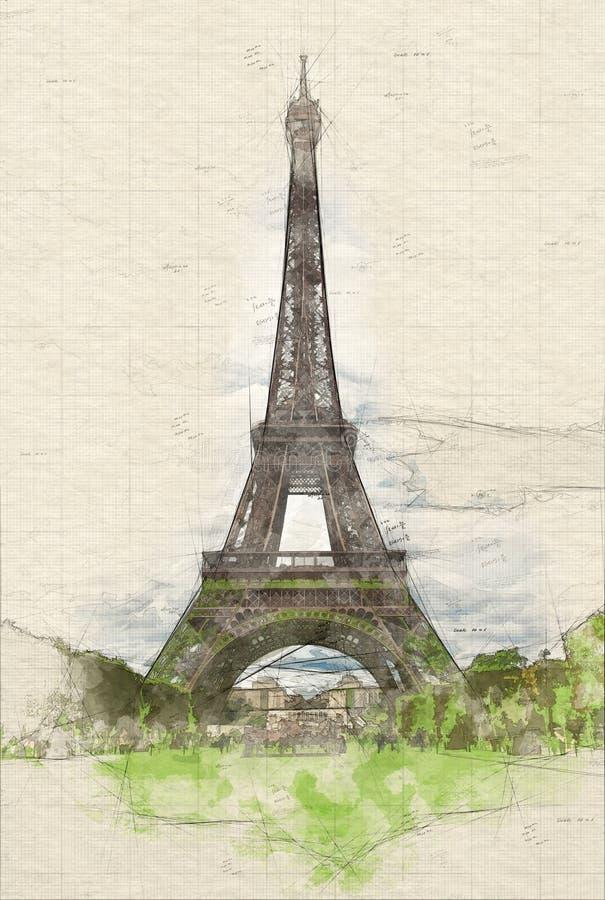 Cenas e da torre Eiffel ilustração royalty free