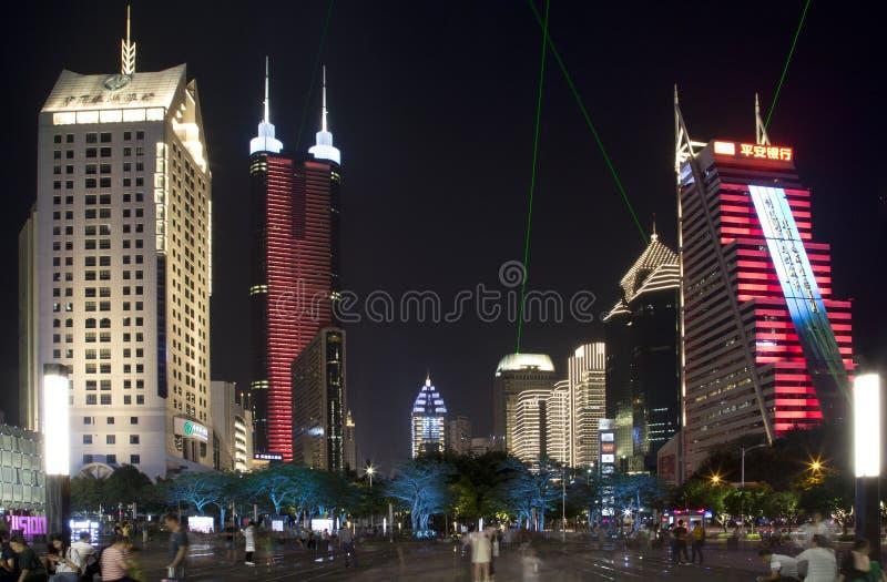 Cenas modernas China Ásia da noite de Shenzhen da cidade foto de stock