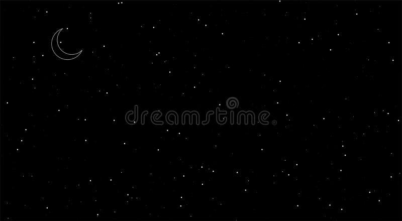 Cenas românticas da noite, starst de brilho, fundo preto Lua no c?u ilustração do vetor