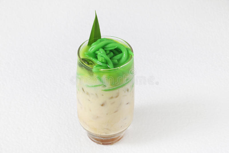 Cendol dessert. Cendol is mixed of rice flour jelly, coconut milk, shredded iced and palm sugar syrup. Cendol is very popular dessert in southeast asia stock image