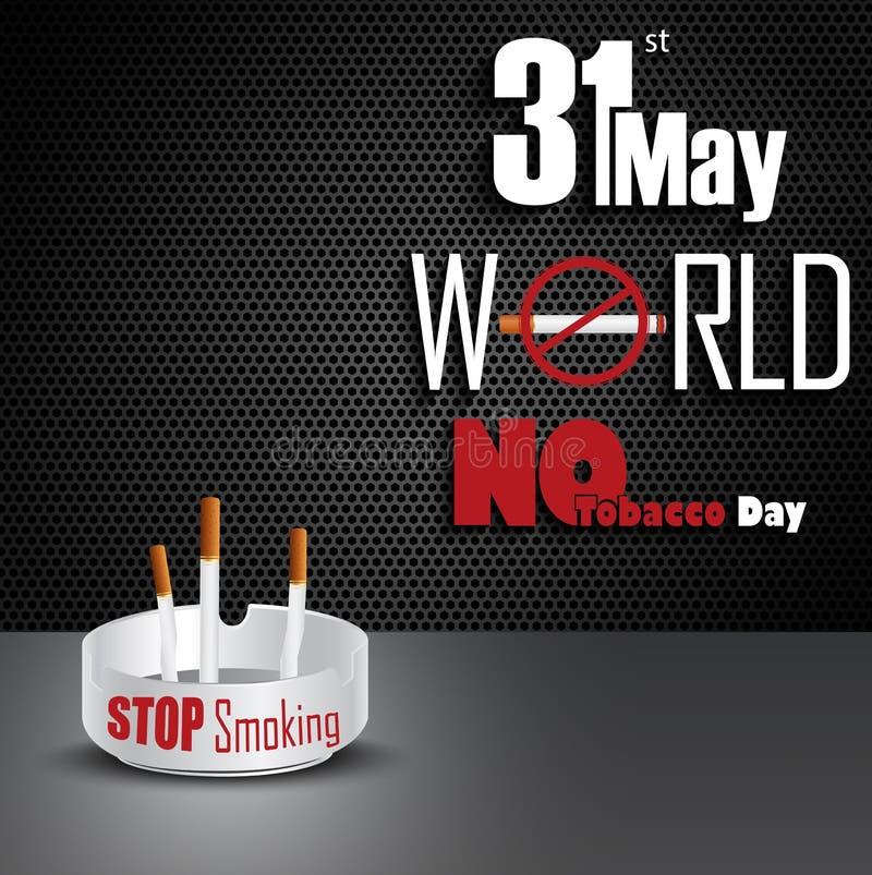 Cendrier avec des cigarettes pour le monde du 31 mai aucun jour de tabac illustration de vecteur