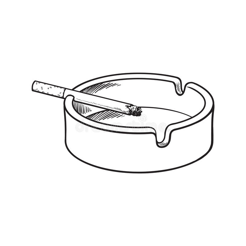 Cendrier en céramique propre et vide blanc avec une cigarette allumée simple illustration stock
