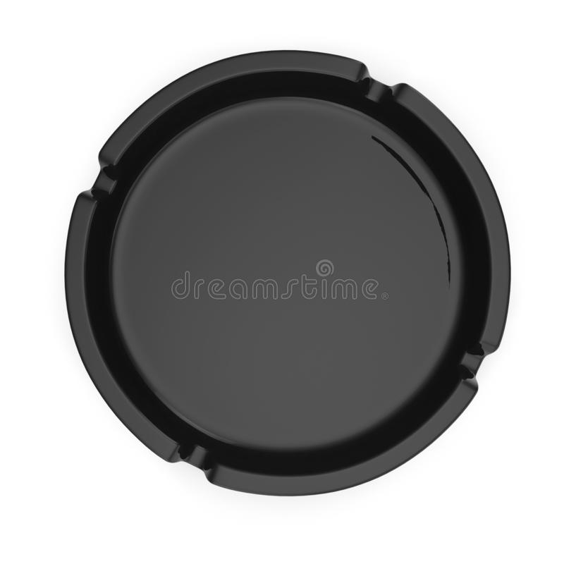 Cendrier en verre noir d'isolement sur l'illustration blanche du fond 3D illustration stock