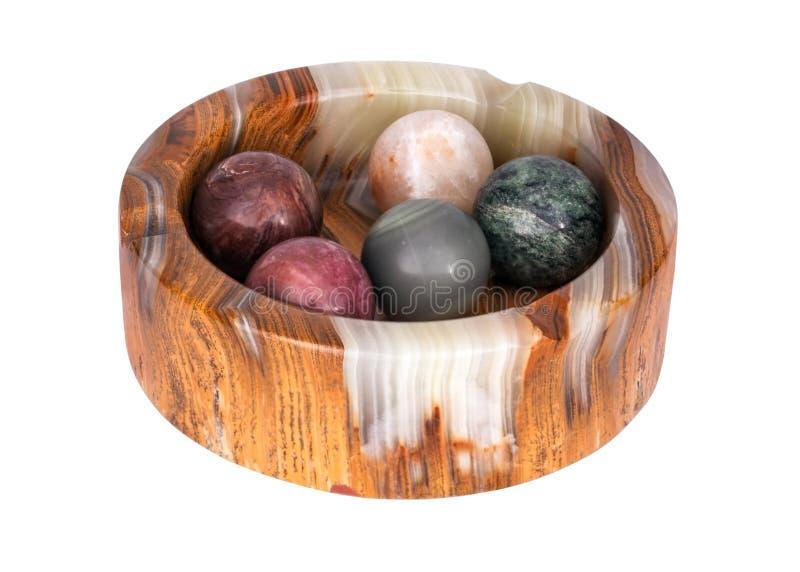 Cendrier minéral semi-précieux naturel d'onyx de boules de collection photographie stock libre de droits