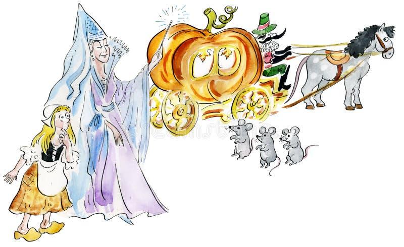 Cendrillon et marraine gâteau faisant le chariot féerique de potiron illustration de vecteur
