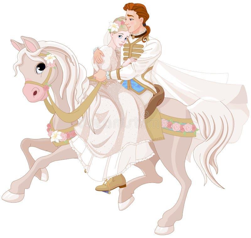 Cenerentola e principe Riding un cavallo dopo nozze royalty illustrazione gratis