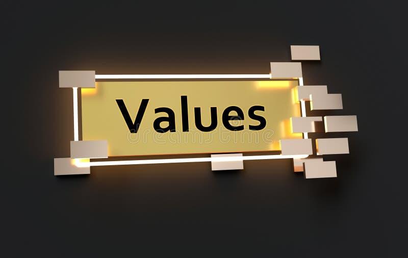 Ceni nowożytnego złotego znaka ilustracji