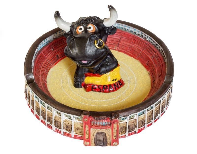 Cenicero bajo la forma de plaza de toros con el toro fotografía de archivo