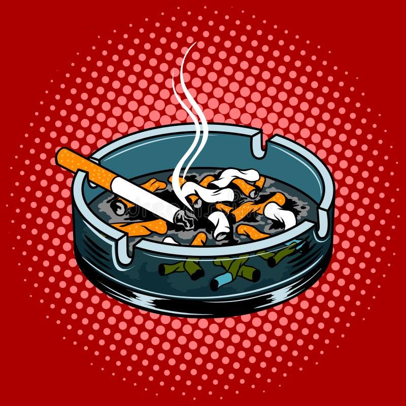 Cenicero con vector del estilo del arte pop de los extremos de cigarrillo stock de ilustración