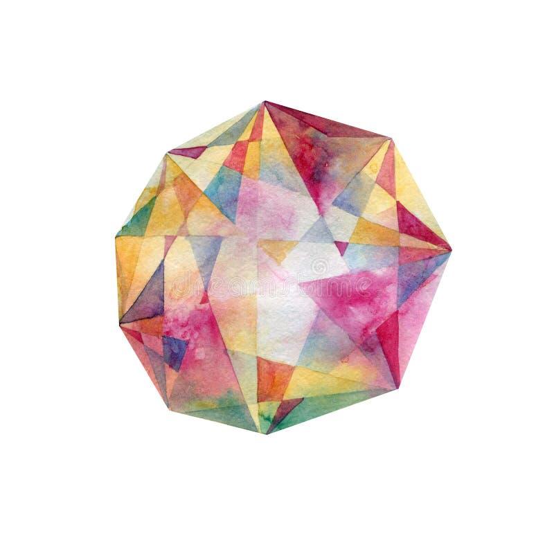 Cennego kamienia kryształ banki target2394_1_ kwiatonośnego rzecznego drzew akwareli cewienie kolorowych punktów ilustracji