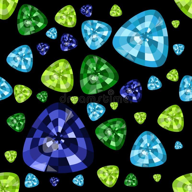 Cenni kamienie na czarnym tle Błękitny topaz, szmaragd, szafir wektor bezszwowy wzoru ilustracji