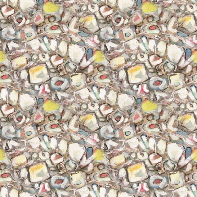 Cenny bezszwowy kamienia wzór Sztuka abstrakt malował tło z pomarańcze, brązu i koloru żółtego kleksami, fotografia royalty free