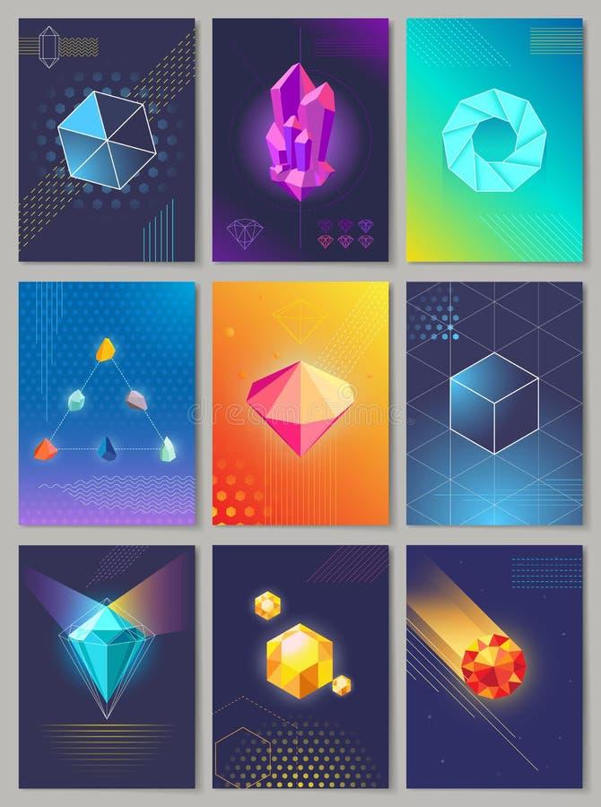 Cennych kamieni Colourful kolekcja Dziewięć ilustracja wektor