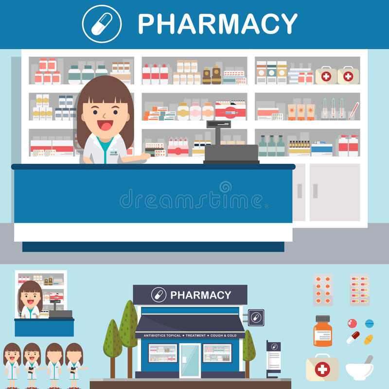 Cenografia da drograria da farmácia do vetor ilustração do vetor
