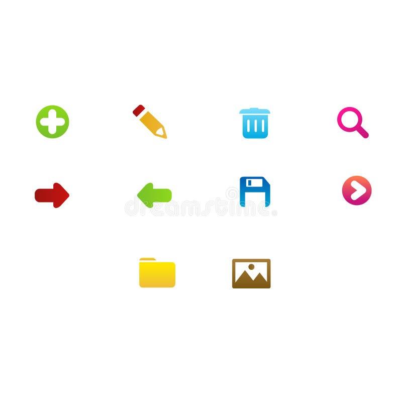 Cenografia dos ícones para a aplicação de software ilustração royalty free