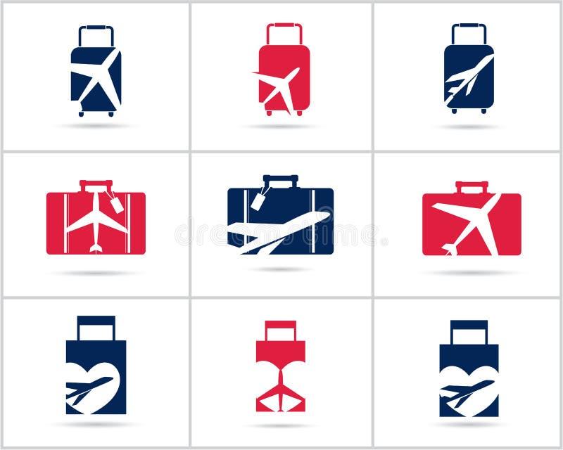 Cenografia dos logotipos do curso A agência e o turismo de bilhete vector ícones, avião no saco e globo Logotipo do saco da bagag ilustração royalty free
