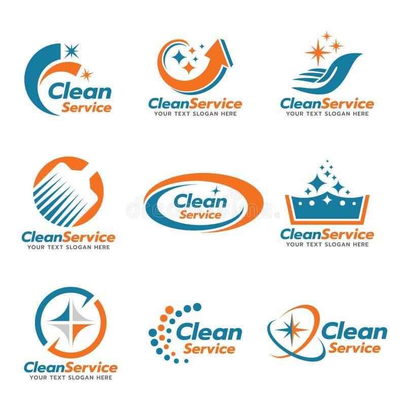 Cenografia limpa alaranjada e azul do vetor do logotipo do serviço ilustração do vetor
