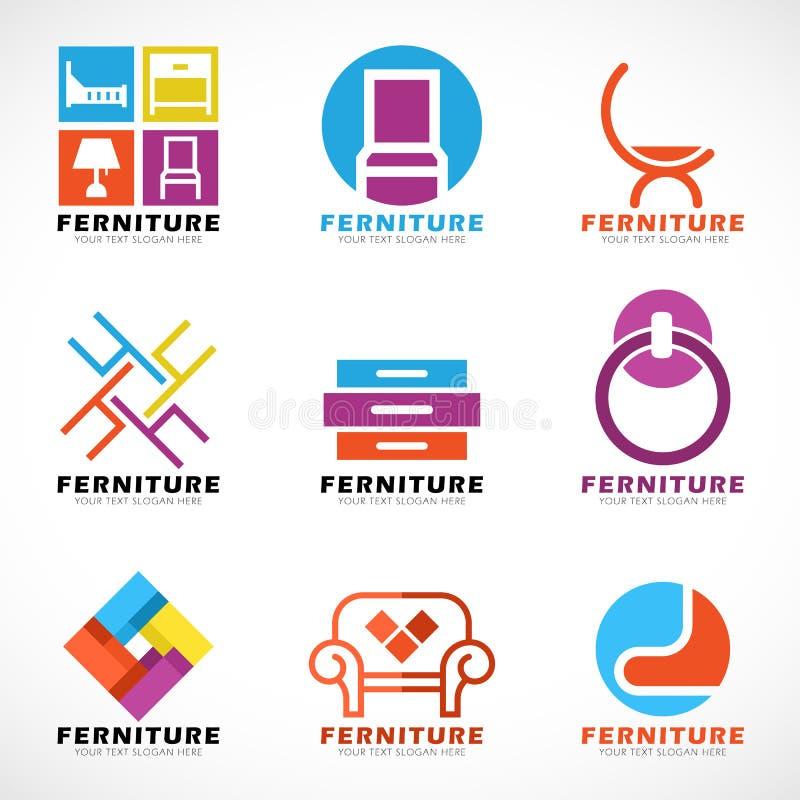 Cenografia moderna do vetor do logotipo da mobília e da decoração ilustração stock