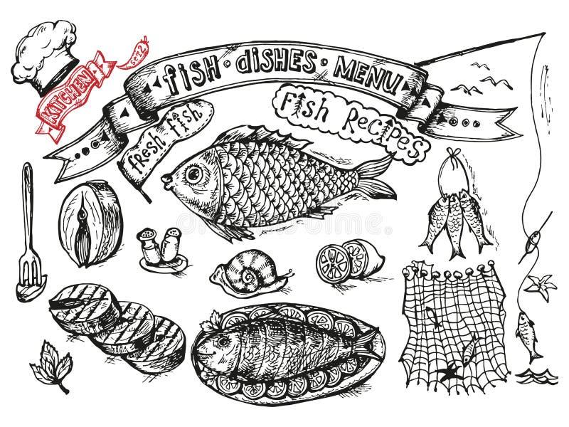 Cenografia para cozinhar - peixes e marisco em um fundo branco ilustração stock