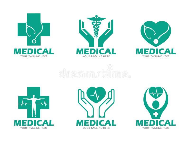 Cenografia verde médica e dos cuidados médicos do logotipo do vetor ilustração do vetor