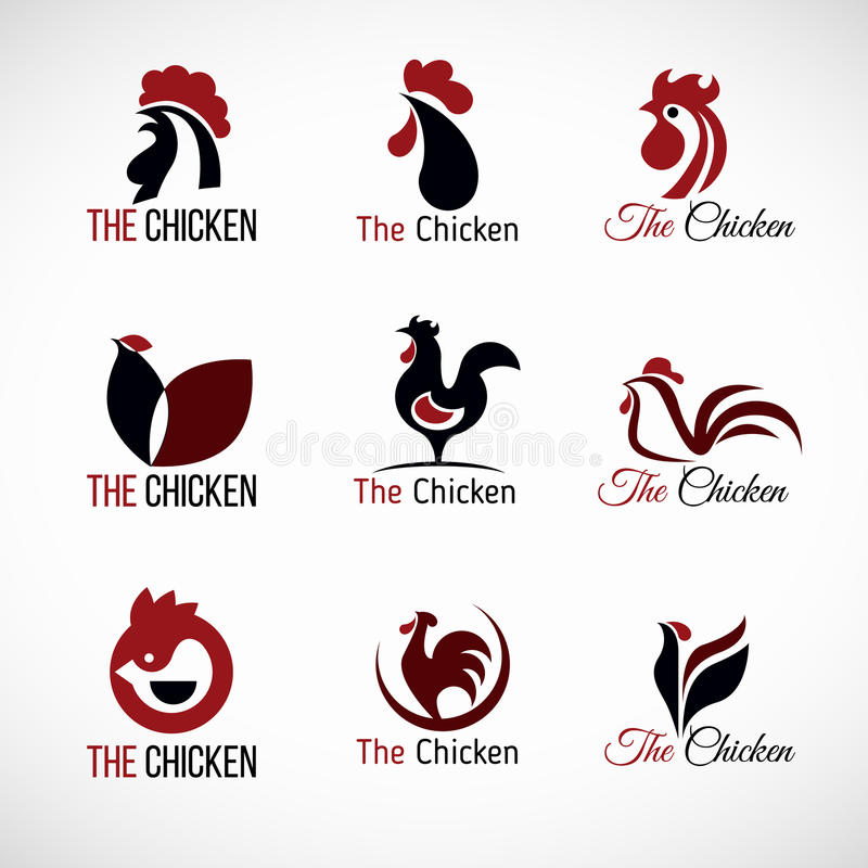 Cenografia vermelha e marrom preta do vetor do logotipo da galinha ilustração do vetor
