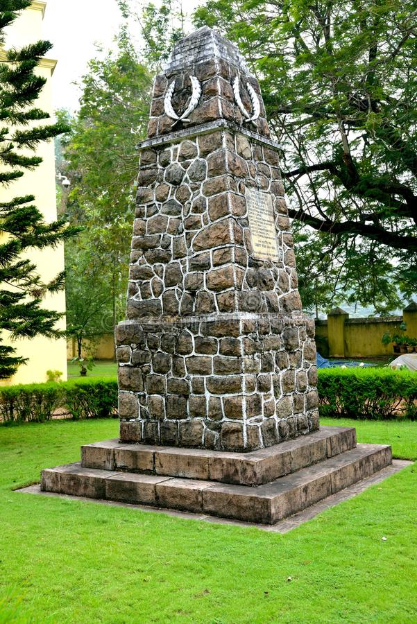 A Cenotaph in front of St.Francis Church, Fort Kochi. The Cenotaph in memory of the residents of Cochin who fell in the First Great War was erected in 1920 and stock images