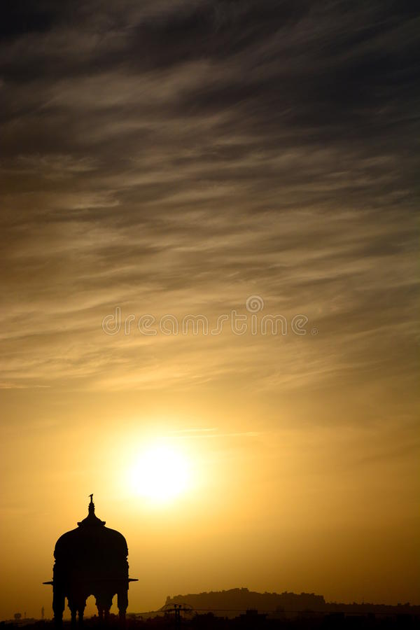 Cenotaph silhouette at sunset. Jaisalmer. Rajasthan. India. Jaisalmer, nicknamed The Golden city, is a city in the Indian state of Rajasthan. The town stands on royalty free stock photography