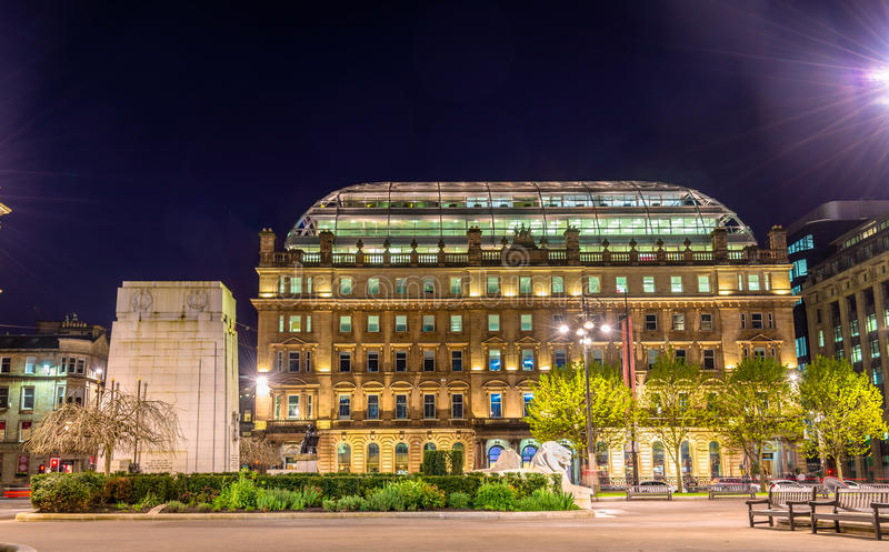 Cenotaph War Memorial and the GPO Building. On George Square in Glasgow royalty free stock photography