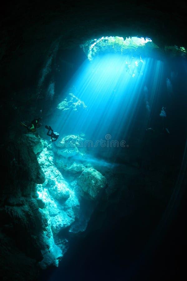 cenote水下的洞入口地区  免版税库存照片