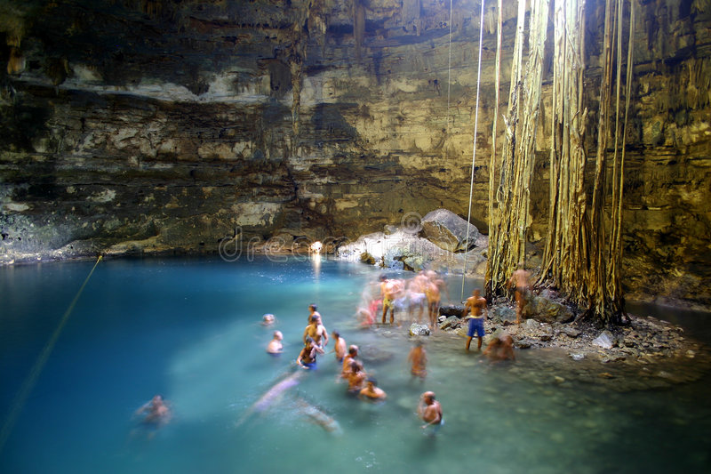 Cenote Cave in Mexico royalty free stock photography