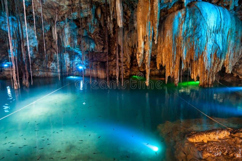 Cenote Dzitnup κοντά στο Βαγιαδολίδ, Μεξικό στοκ εικόνες