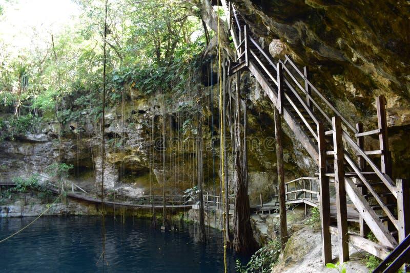 Cenote em EkBalam fotografia de stock royalty free