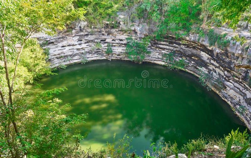 Cenote Sagrado sakral sinkhole Chichen Itza royaltyfri fotografi