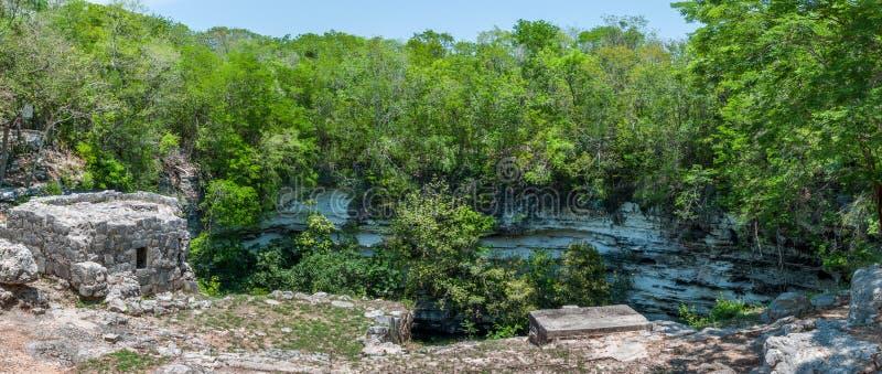 Cenote Xtoloc em Chicen Itza, Iucatão, México fotografia de stock royalty free