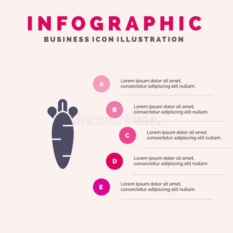 Cenoura, alimento, Páscoa, fundo contínuo da apresentação das etapas de Infographics 5 do ícone da natureza ilustração stock