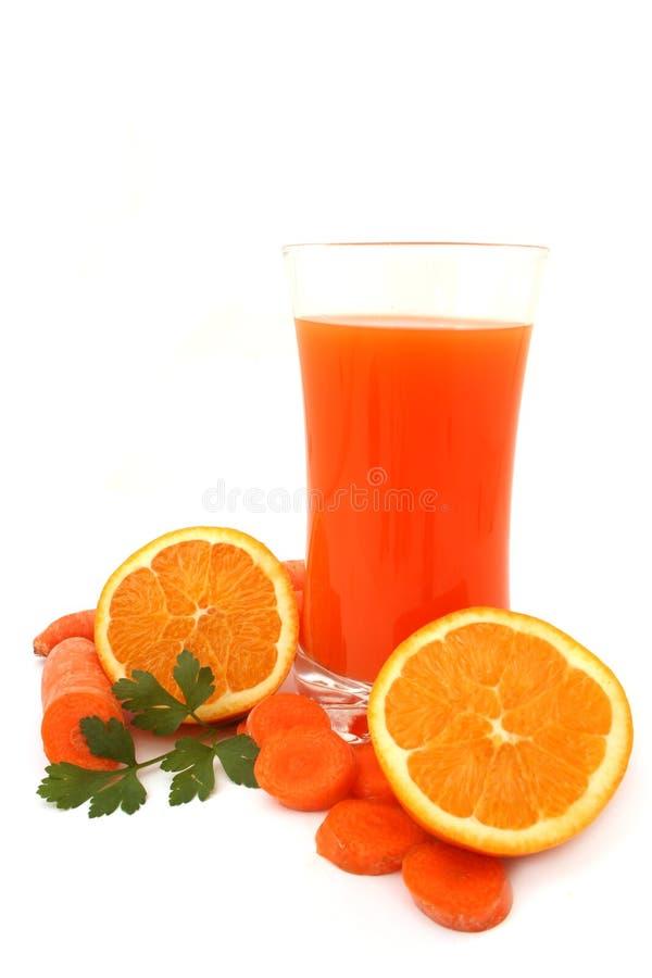 Cenoura e sumo de laranja imagens de stock