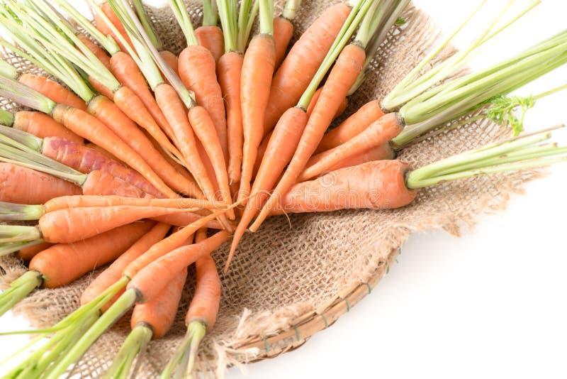 Cenoura fresca, cenoura de bebê na cesta imagens de stock royalty free