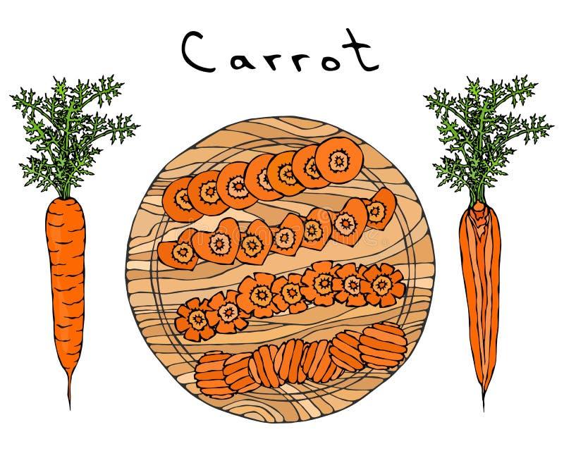 Cenouras alaranjadas frescas com folhas em uma placa de madeira do corte Cortes diferentes da cenoura Fatias da forma do coração  ilustração do vetor