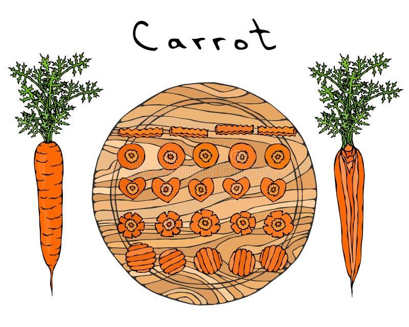 Cenouras alaranjadas frescas com folhas em uma placa de madeira do corte Cortes diferentes da cenoura Fatias da forma do coração  ilustração royalty free
