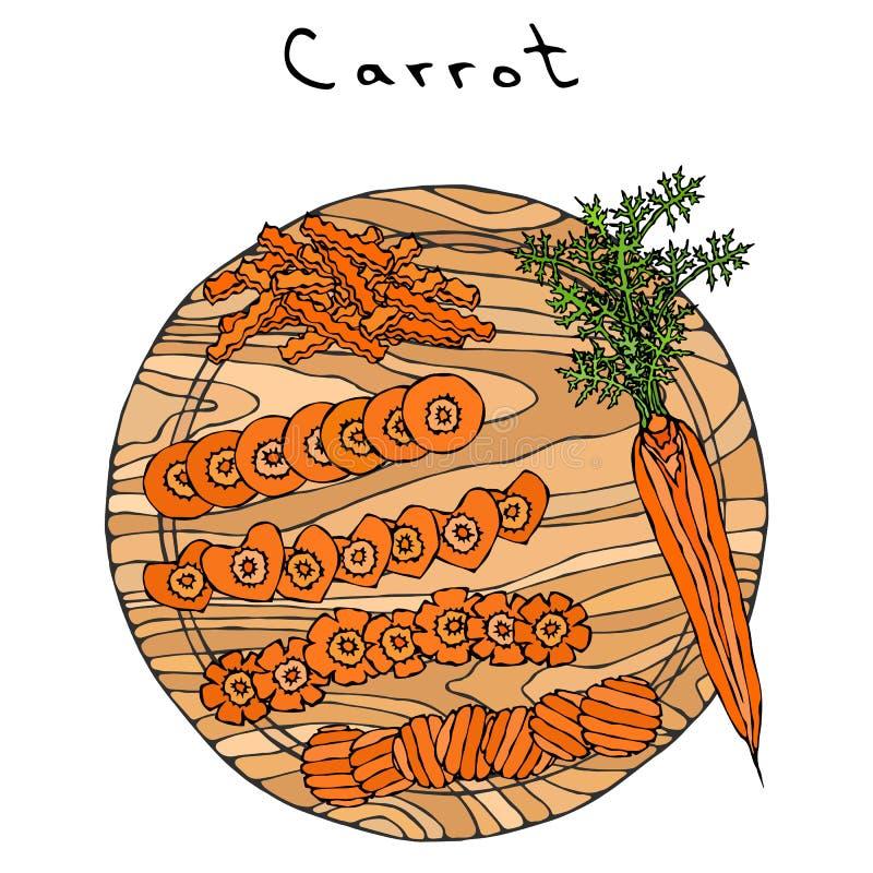 Cenouras alaranjadas frescas com folhas em uma placa de madeira do corte Cortes diferentes da cenoura Fatias da forma do coração  ilustração stock