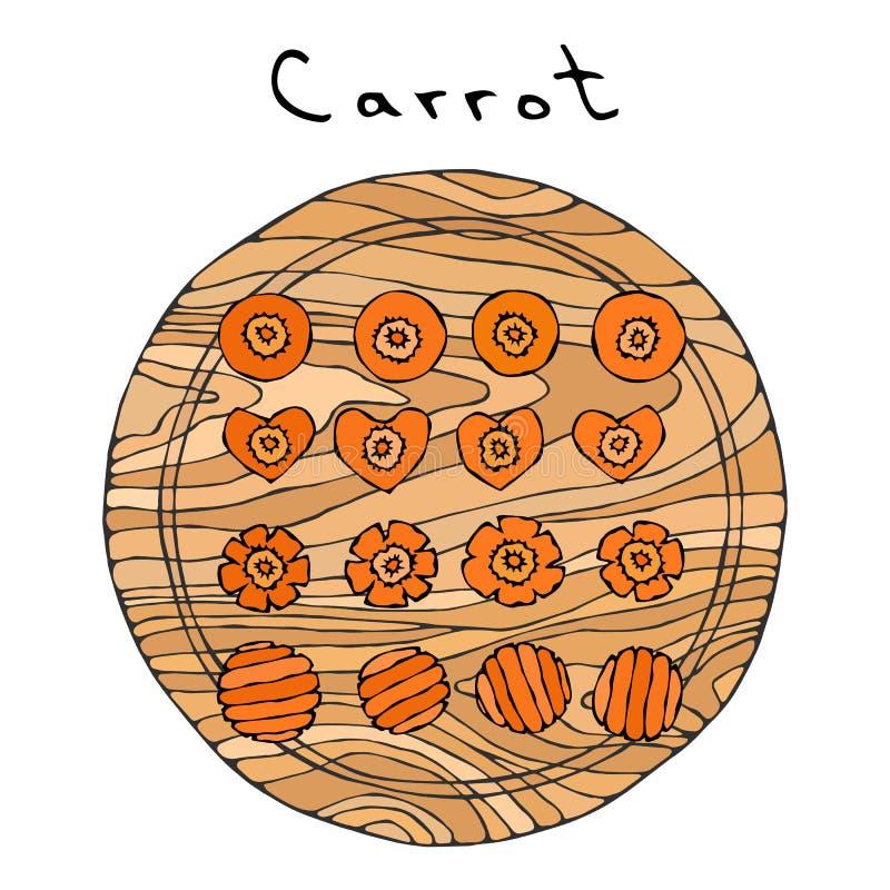 Cenouras alaranjadas frescas em uma placa de madeira do corte Cortes diferentes da cenoura Fatias da forma do coração Vegetais ma ilustração stock