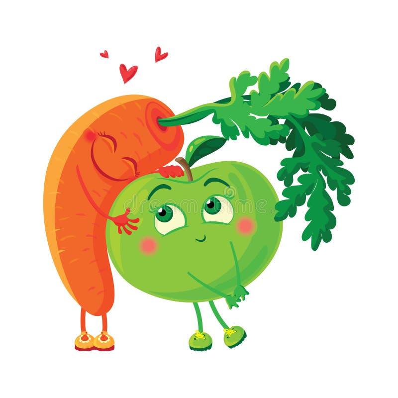 Cenouras no amor com a maçã Abraço dos vegetais ilustração do vetor