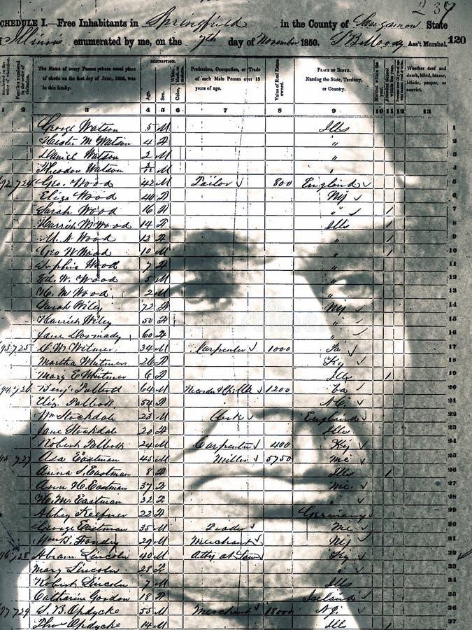 Censimento 1850, Abraham Lincoln & famiglia fotografia stock libera da diritti