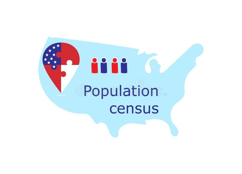 Censo de población en Estados Unidos ilustración del vector