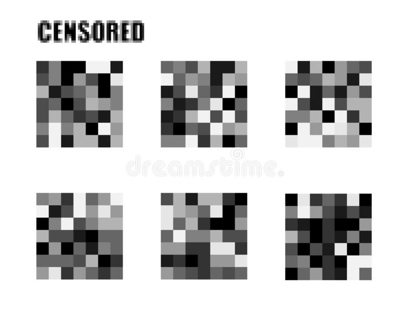 Censored signs concept. Isolated Set of censor bar. . Pixel censored vector template. Censorship rectangle. Black censor. Bar. Censorship rectangle vector illustration